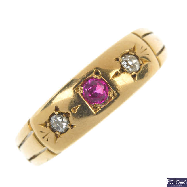 A late Victorian 18ct gold diamond and gem-set ring.
