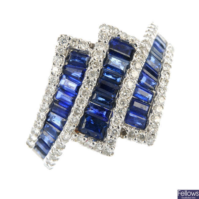 A 14ct gold sapphire and diamond dress ring.