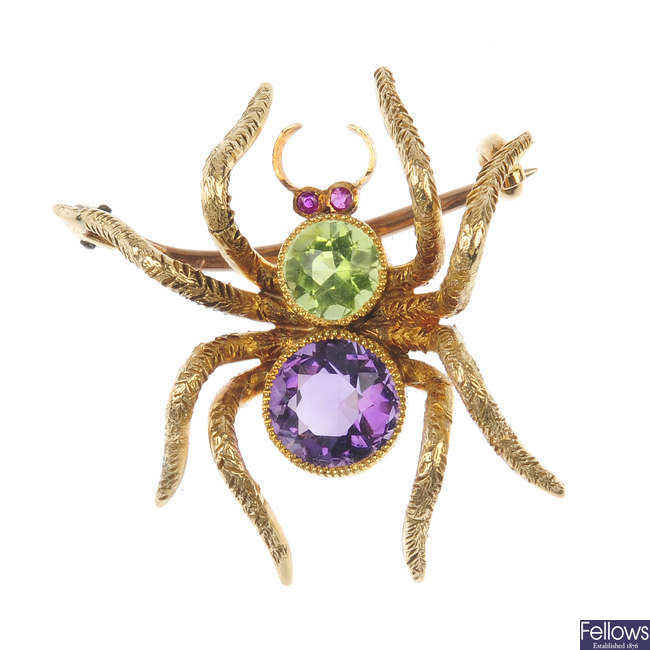An early 20th century 15ct gold gem-set insect brooch.