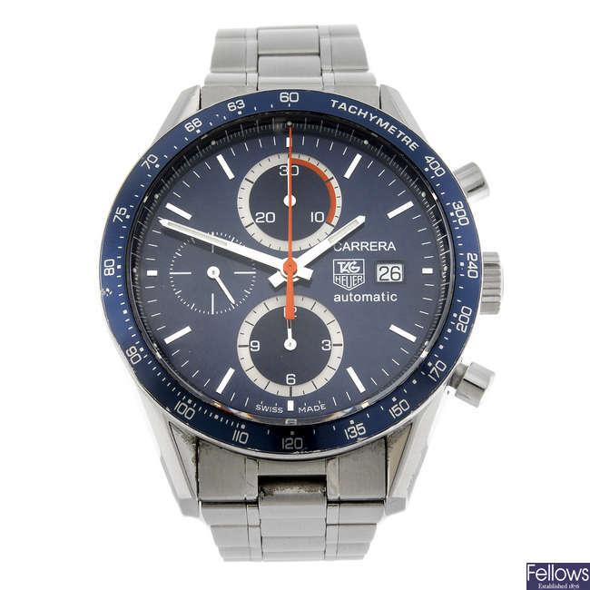 TAG HEUER - a gentleman's stainless steel Carrera chronograph bracelet watch.