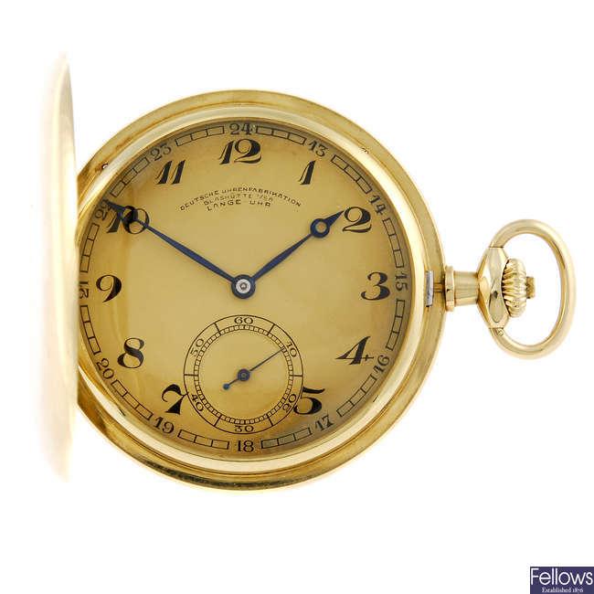 A full hunter yellow metal pocket watch by Lange.