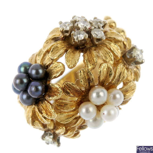 A diamond and seed pearl bombe ring.