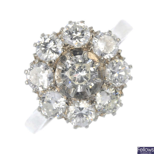 A mid 20th century diamond cluster ring.