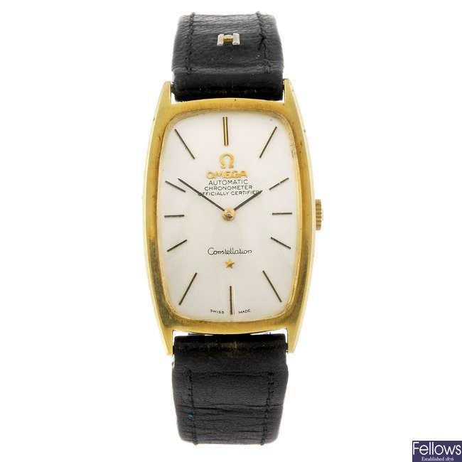 OMEGA - a yellow metal Constellation wrist watch.