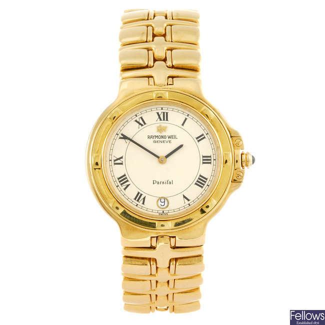 RAYMOND WEIL - an 18ct yellow gold gentleman's Parsifal bracelet watch.