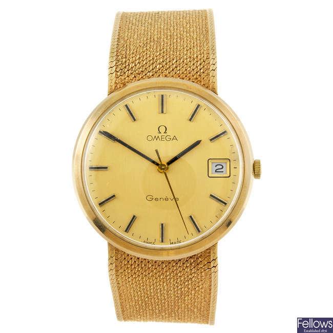 OMEGA - a 9ct gold gentleman's Geneve bracelet watch.