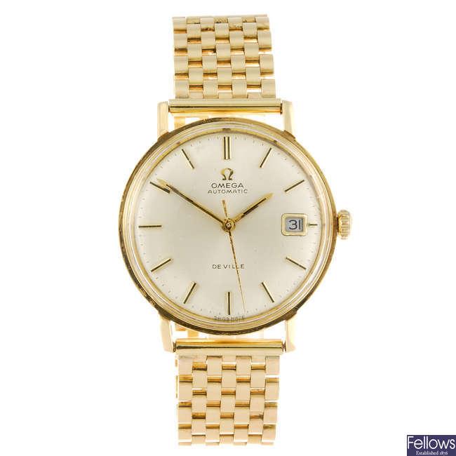 OMEGA - a 9ct gold gentleman's De Ville bracelet watch.