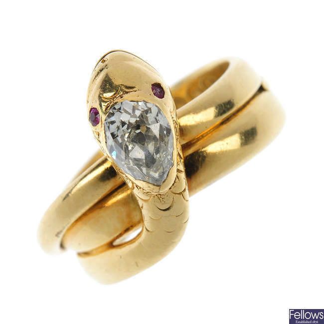 An early Victorian 18ct gold diamond snake ring.