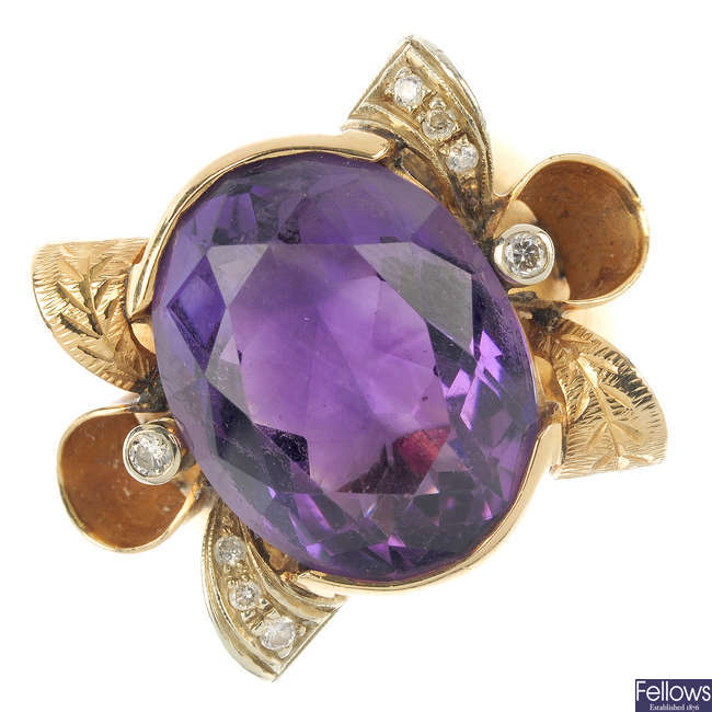 An amethyst and diamond dress ring.