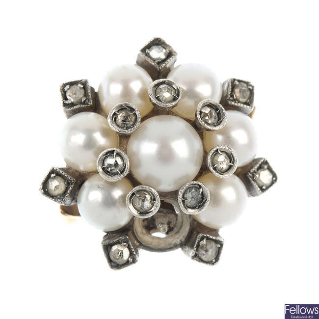 A cultured pearl and diamond cluster dress ring.