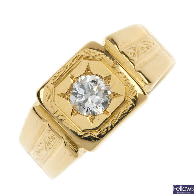 A gentleman's 1930s 18ct gold diamond single-stone signet ring.