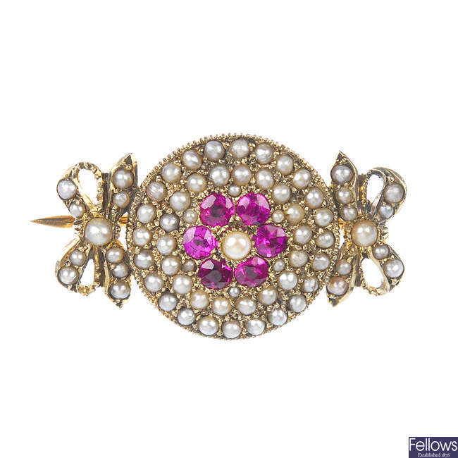 A late 19th century 9ct gold synthetic ruby and seed pearl brooch.