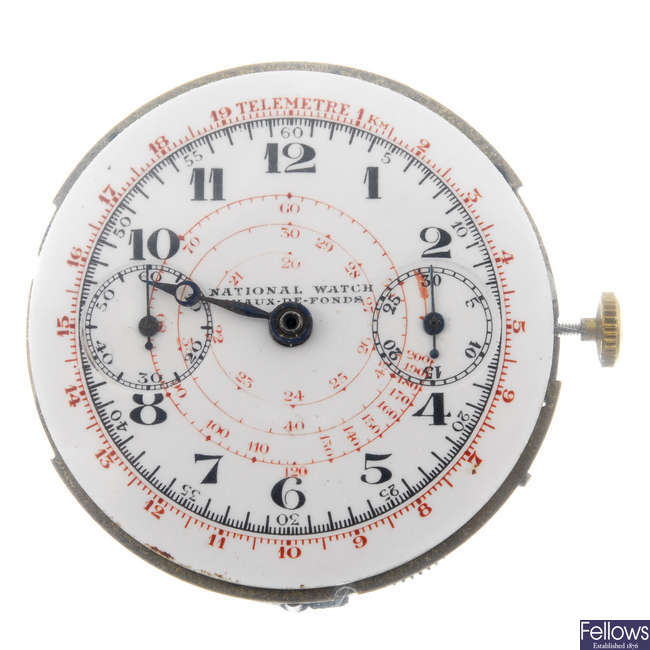 NATIONAL WATCH - a chronograph watch movement.