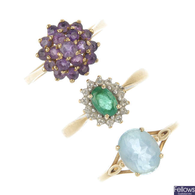 A selection of three 9ct gold gem-set rings.