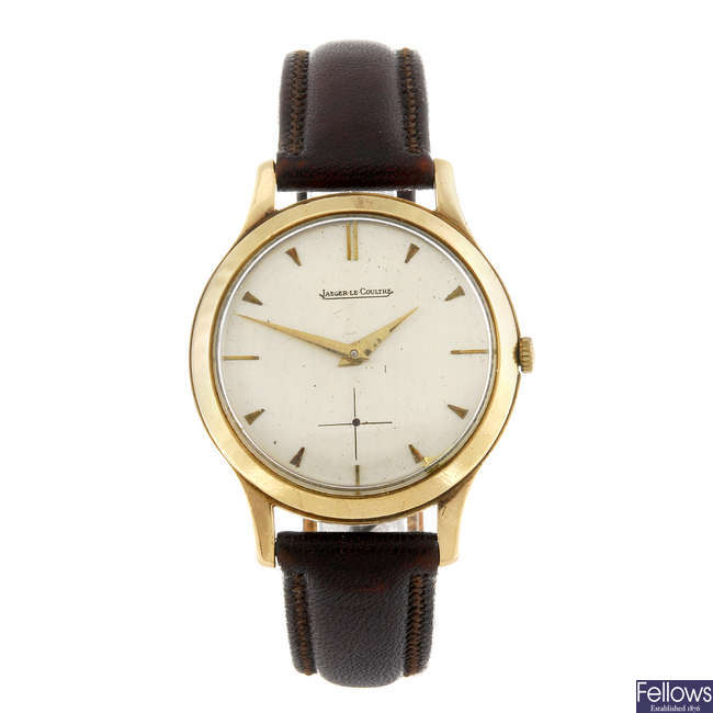 JAEGER-LECOULTRE - a gentleman's 9ct gold wrist watch.