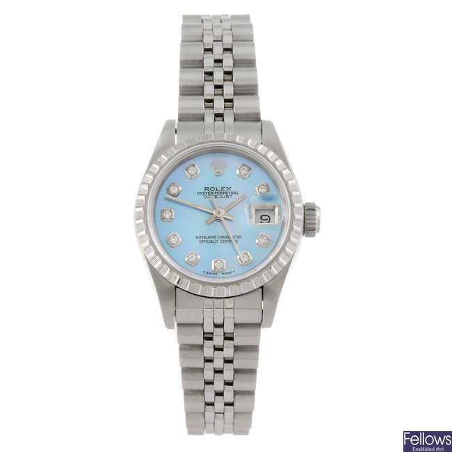ROLEX - a lady's stainless steel Oyster Perpetual Datejust bracelet watch.