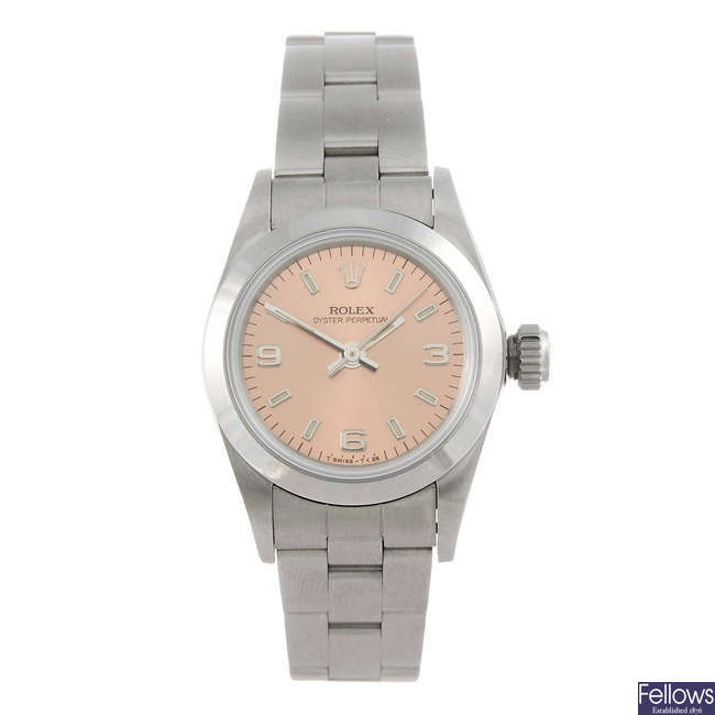 ROLEX - a lady's stainless steel Oyster Perpetual bracelet watch.
