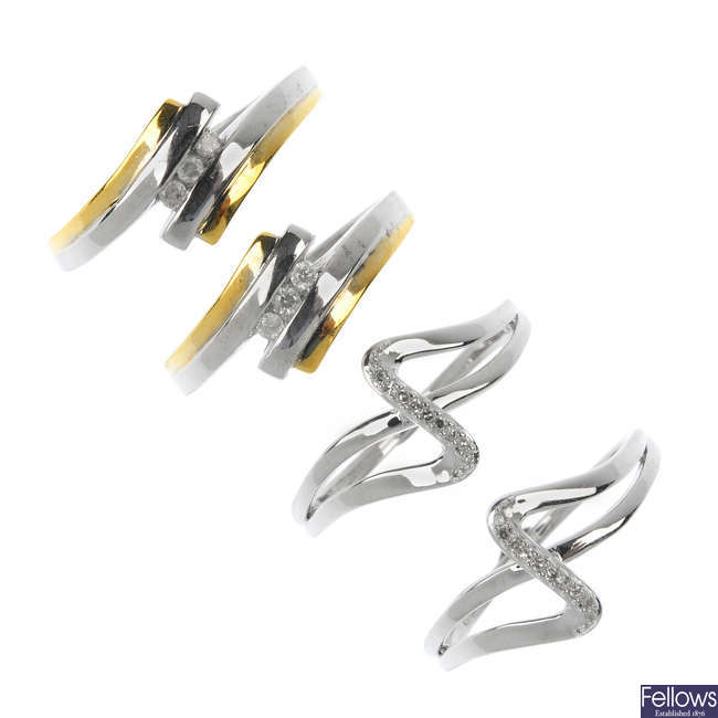 A selection of four 9ct gold diamond dress rings.