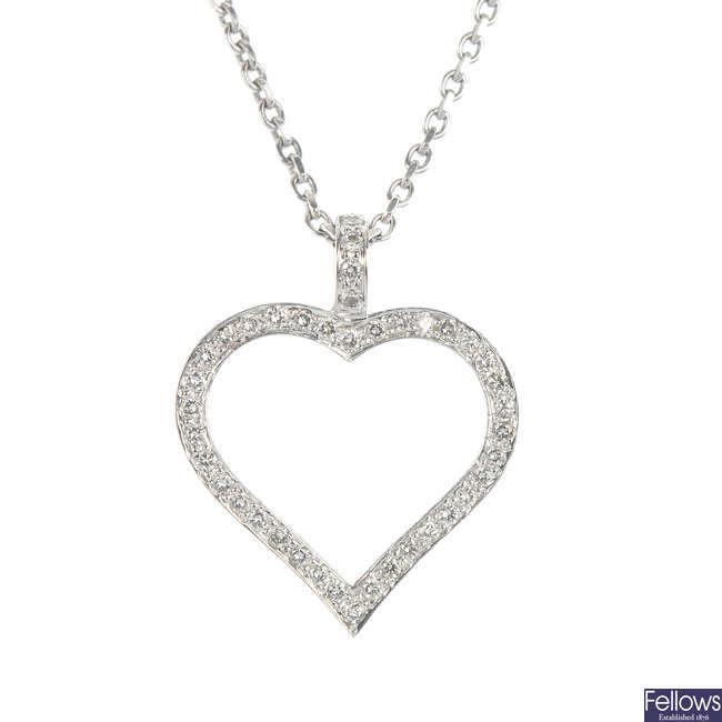 A diamond heart pendant.