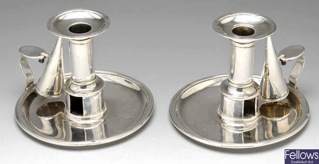 A pair of George III silver chambersticks, Sheffield 1801.