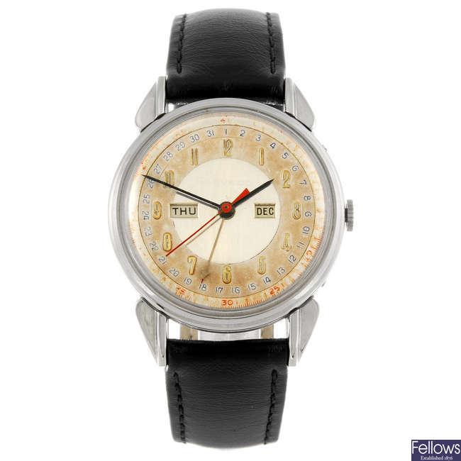 MOVADO - a gentleman's triple date wrist watch.