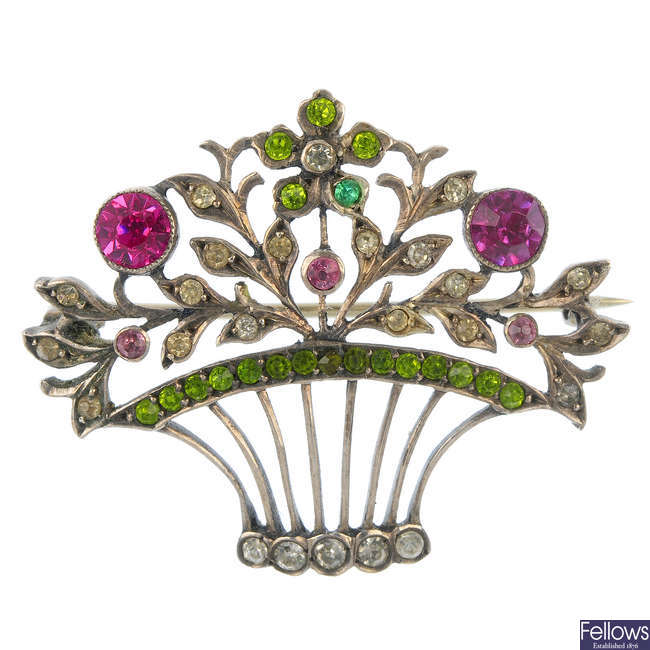 An early 20th century paste floral brooch.