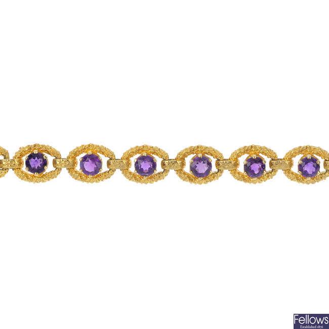 A 1970s 9ct gold amethyst bracelet, by Cropp & Farr.