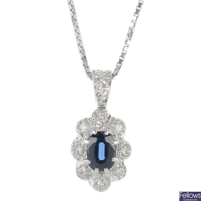 A 1970s 18ct gold sapphire and diamond pendant, and chain.