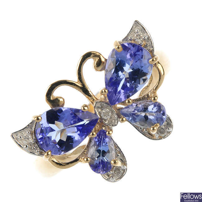 A 9ct gold diamond and tanzanite butterfly ring.