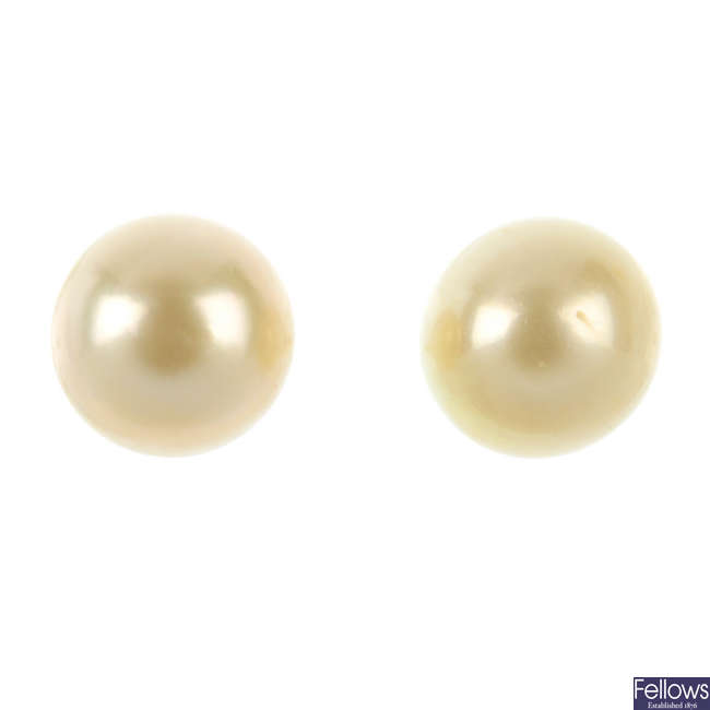 A pair of cultured pearl ear studs.