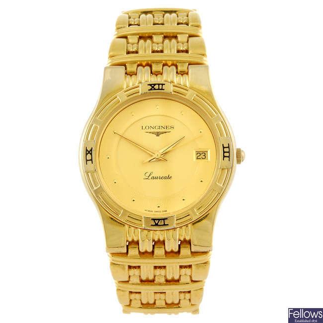 LONGINES - a gentleman's Laureate bracelet watch.
