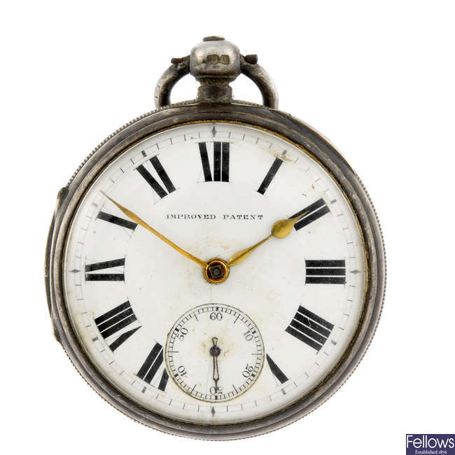 A silver open face pocket watch by T. B. Dearing together with two other pocket watches.