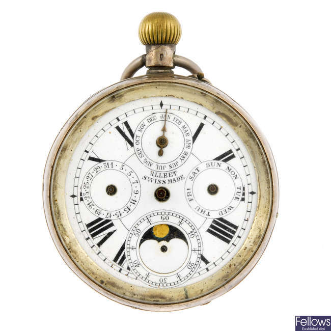 A white metal open face triple date pocket watch by Allbet.