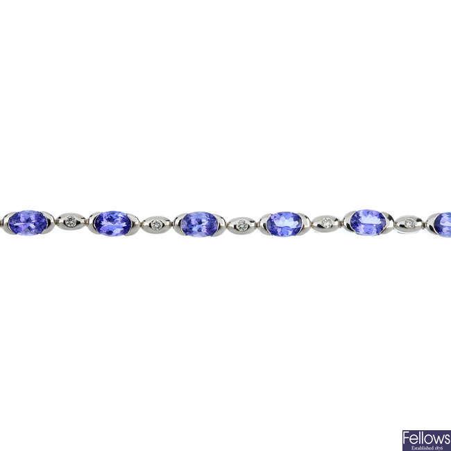 A tanzanite and diamond bracelet.