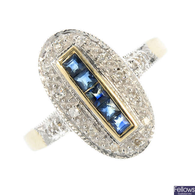 A 9ct gold diamond and sapphire cluster ring.