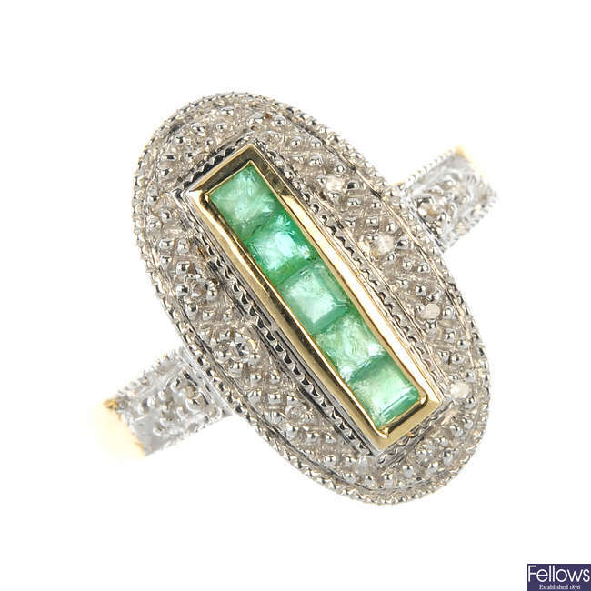 A 9ct gold diamond and emerald cluster ring.