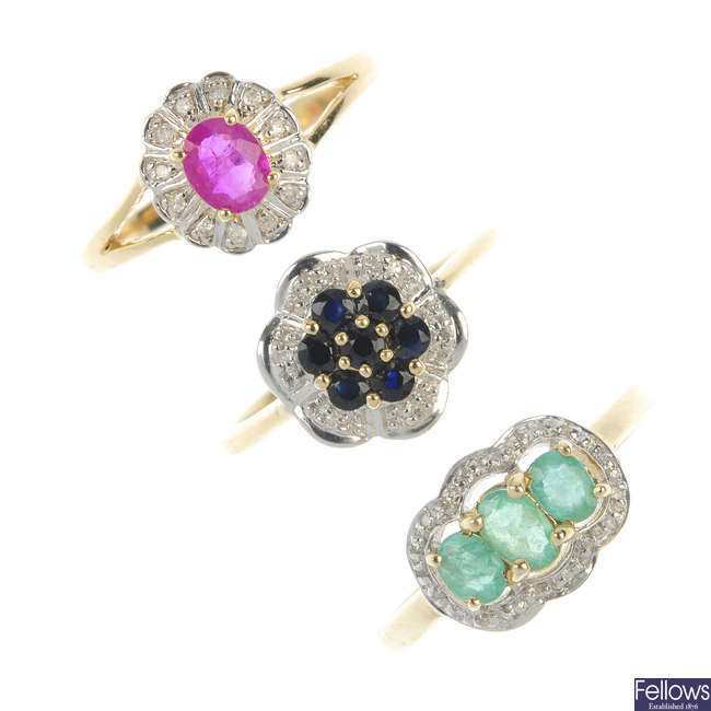 A selection of three 9ct gold diamond and gem-set cluster rings.