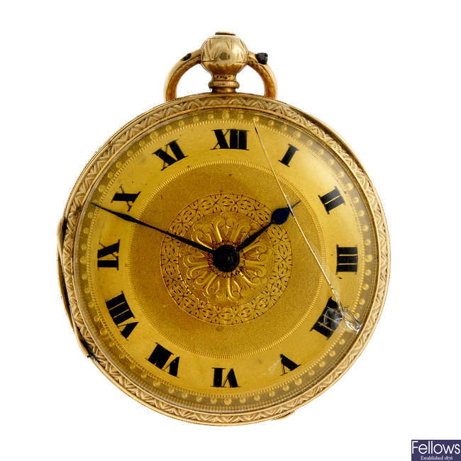 An 18ct yellow gold open face pocket watch.