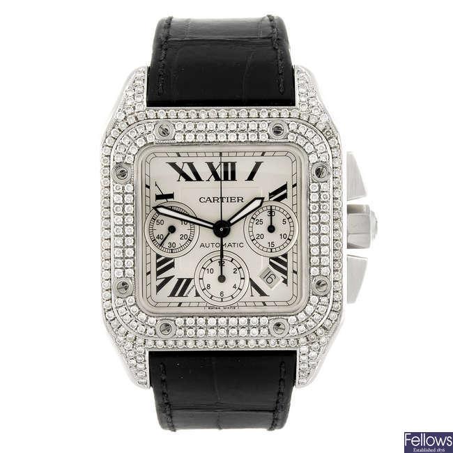 CARTIER - a stainless steel Santos 100 XL chronograph wrist watch.