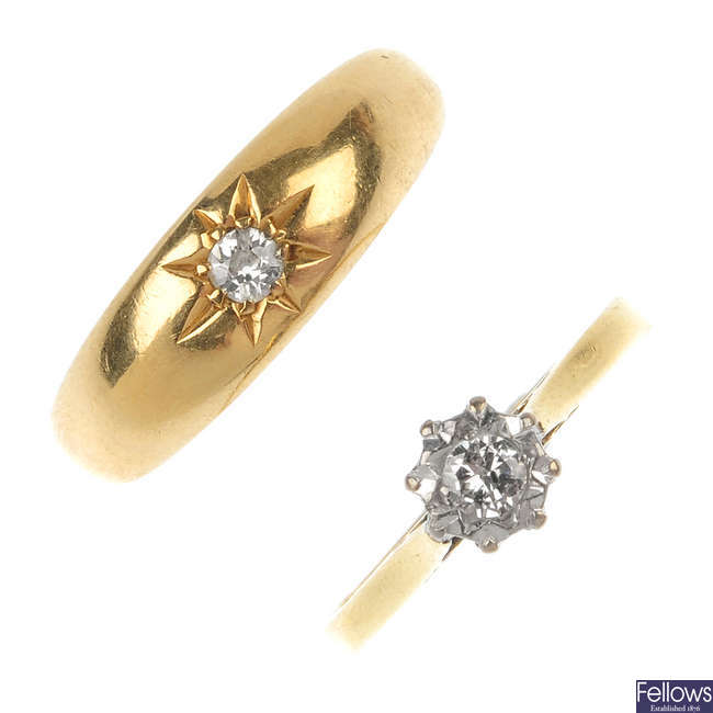 Two 18ct gold diamond single-stone rings.