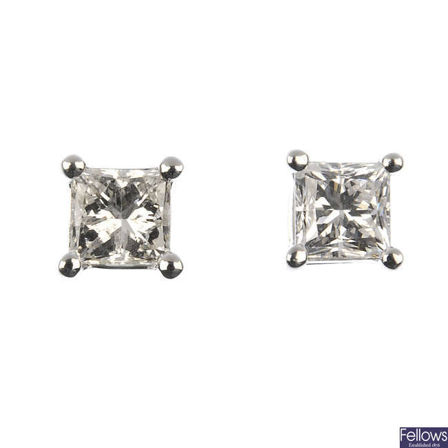 A pair of 18ct gold square-shape diamond ear studs.