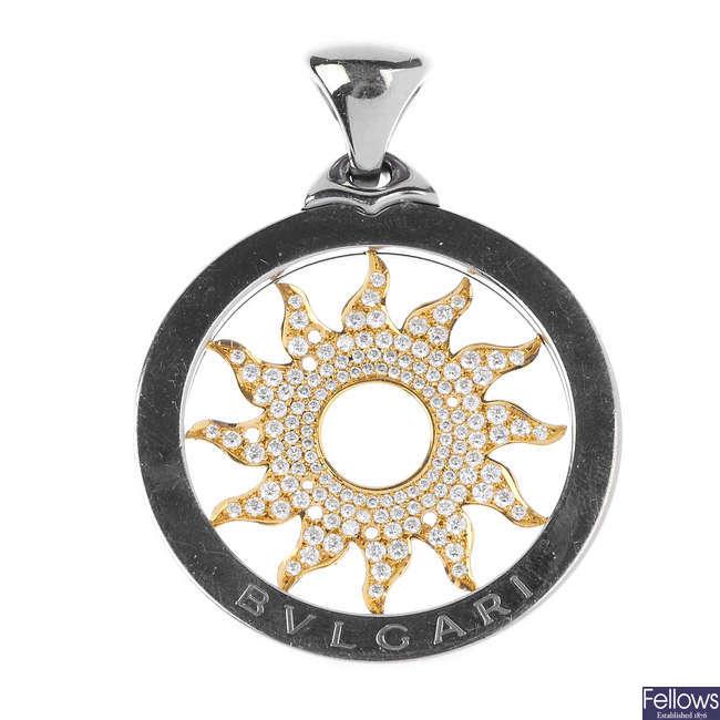 BULGARI - a diamond 'Tondo Sun' pendant.