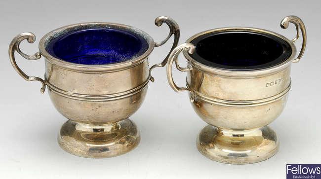 A pair of Edwardian open silver salts, plus a modern silver salver.