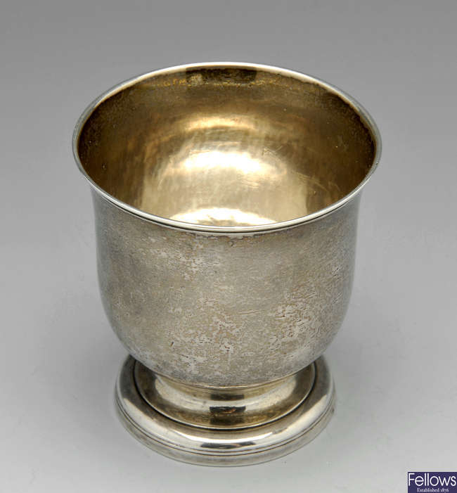 A George II silver cup by William Justis.