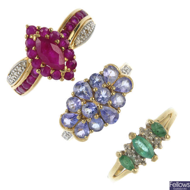 A selection of three gem-set dress rings.