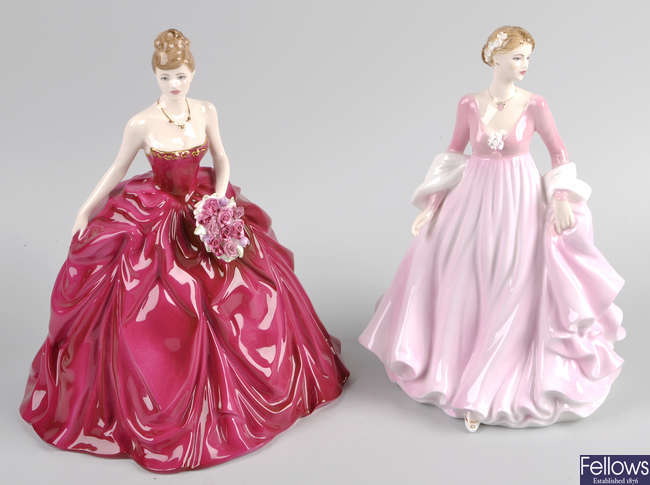 Eight assorted Royal Worcester, Royal Doulton and Coalport figures