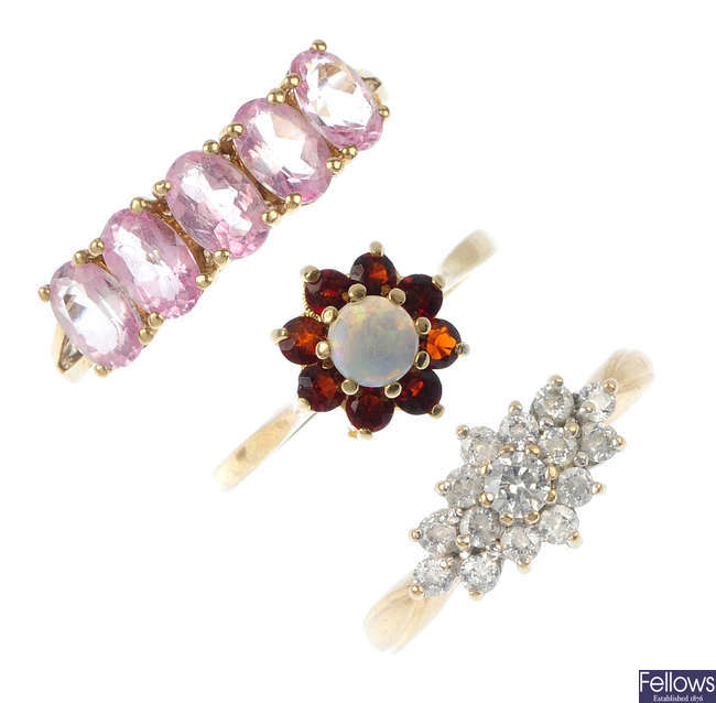 A selection of six gem-set and cubic zirconia dress rings.