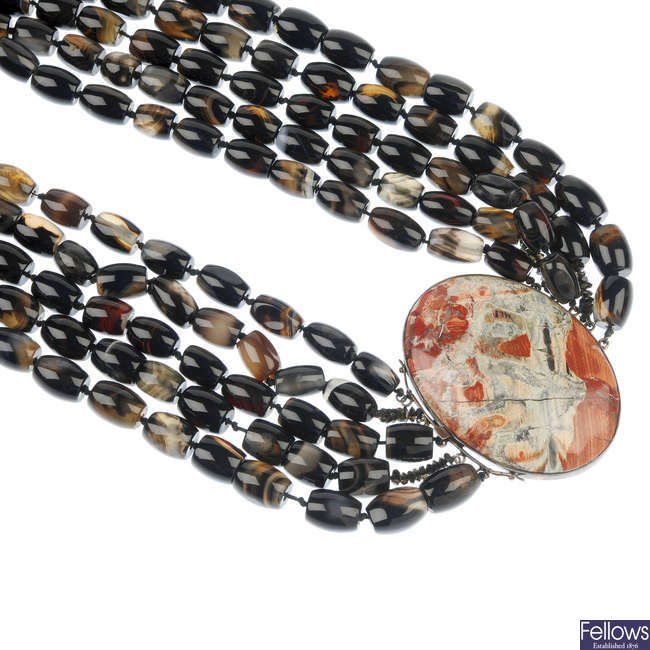 An agate bead and hardstone necklace.