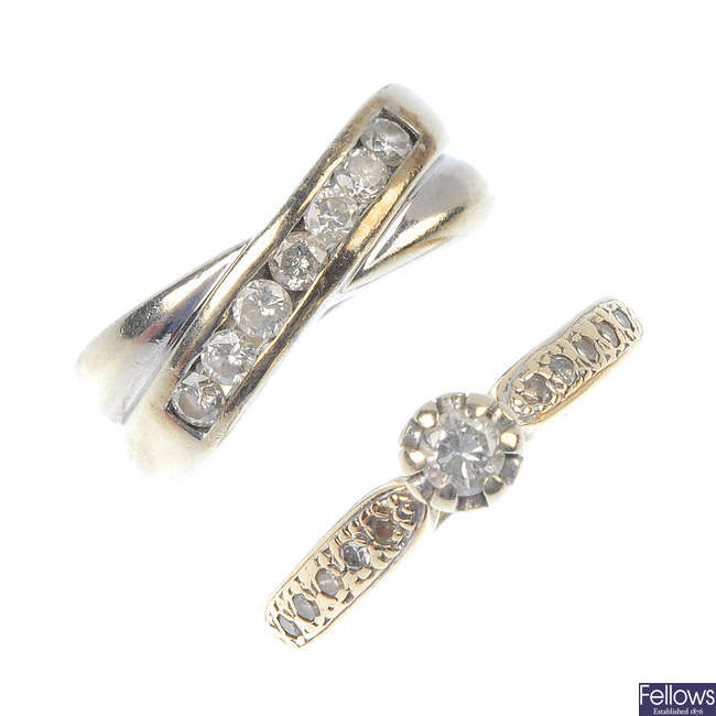 Two diamond rings and two dress studs.