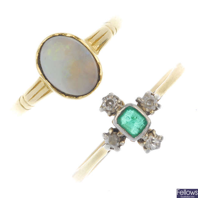 Two early to mid 20th century 18ct gold gem-set rings.